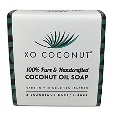 XO Coconut Oil Bar Soap Handcrafted Organic Natural Face Body Hands Vegan Unscented – 3 Bars