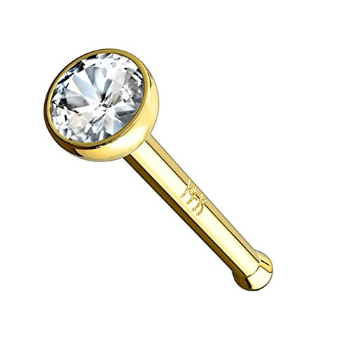 Paula & Fritz® Echt-Gold Nasen-Piercing Nasenpiercing-s Nose Nasenfluegel Nasenstecker Nostril 14 Karat Zirkonia rund Clear GDO09-18-DYC