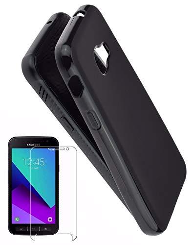 Favory-Shop TPU Silikon Tasche kompatibel mit Samsung Galaxy Xcover 4s Hülle Dark Hülle Schutzhülle Handytasche Cover in schwarz inkl. 9H Panzer Folie Glas