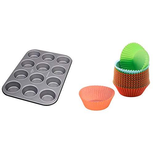 Dr. Oetker Muffinform 12er, Backblech antihaft für Muffins, Muffin Backform (Kuchenform ca.: Ø 5,5 cm), Menge: 1 Stück & Kaiser Inspiration Muffin Förmchen Papier, 150 Stück, bunt, Standardgröße 7 cm