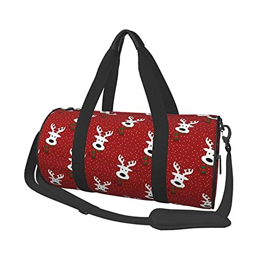 Bolsa de deporte para gimnasio, ligera, potable, de lona, bolsa de hombro de reno, en un día nevado, color rojo, gran capacidad, bolsa de viaje multifunción, bolsa de gimnasio