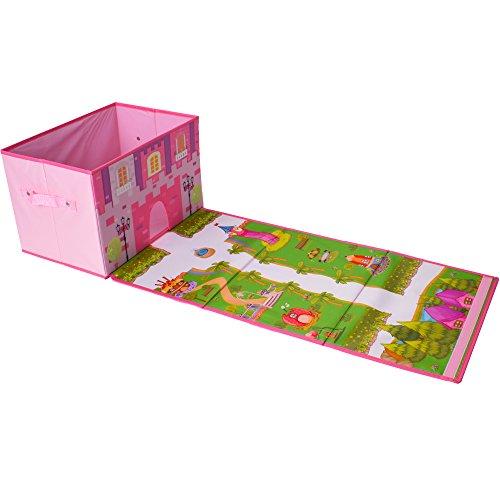 TE-Trend Stoff Faltbox Spielbox Mädchen Spielteppich Schlosspark Ordnungsbox Spielzeug Spielzimmer verschließbar rosa pink