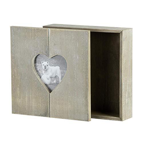 Rivanto® Steek-houten geschenkdoos met hart-fotolijst, fotobox, houten kist, houten doos, sieradenkistje met hartmotief, 20 x 20 x 6 cm
