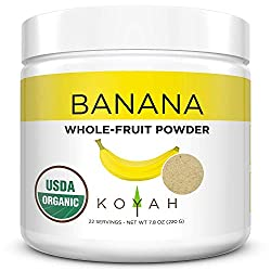 WHOLE FRUIT BANANA FLOUR KOYAH BRAND IN WHITE CANISTER WITH YELLOW DETAIL