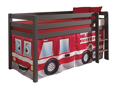 Vipack PICOHSZG1570 Spielbett Pino mit Textilset Feuerwehr, Maße 210 x 114 x 106 cm, Liegefläche 90 x 200 cm, Kiefer massiv Taupe lackiert