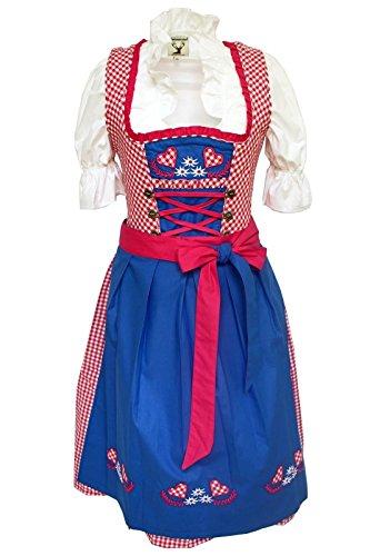 Alpensprookjes 3-delig Dirndl-set - klederdrachtjurk, blouse, schort, maat 32-60, blauw-roze, ALM1500
