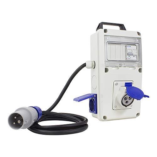 Poly Pool PP0729 Quadro Elettrico di Distribuzione IEC309 230V 2 Prese Civili 1 Presa CEE 1 Interruttore Magnetotermico Cavo 2 Metri Spina CEE 16A 2P+