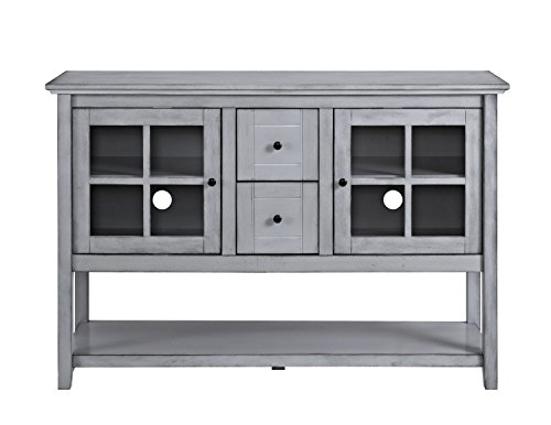 Walker Edison Furniture Company Rustic Farmhouse Wood Buffet Storage Cabinet Living Room, 52 Inch, Antique Grey