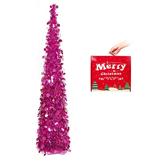 MACTING Tinsel Christmas Tree, 5ft Collapsible Pop up Xmas Tree with Stand, Christmas Tree for Holiday Xmas Decorations, Home Display, Office Decor (Fuchsia)