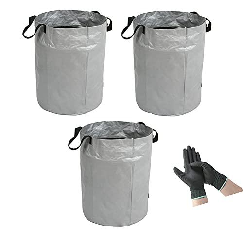 Kabxhueo Sacos Reutilizables para jardín,Resistente Bolsa para residuos con Asas 100L,Bolsas de Hierba de Hojas a Prueba de desgarros, 1 par de Guantes de jardinería,3 PCS 45X63CM