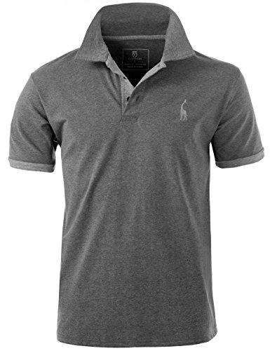 GLESTORE Herren Poloshirt Einfarbig Basic Kurzarm Polohemd T1-Grau XL