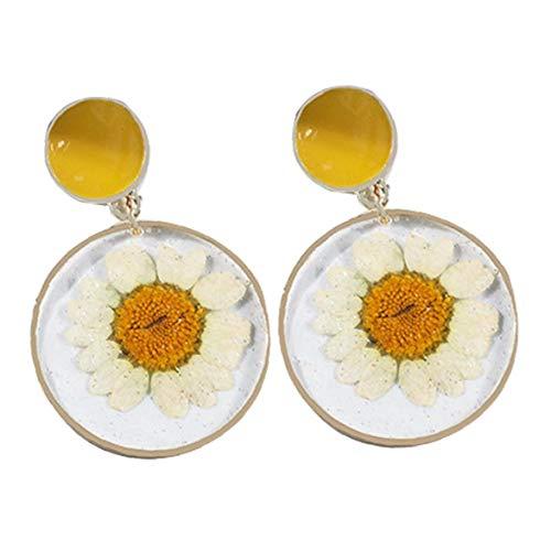 Zonfer Gänseblümchen-Blumen-Haken-Ohr-Bolzen-transparenter Harz Acryl Statement doppelte Kreis-Tropfen-hängende Ohrring-Geschenk