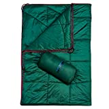 Vlish Indoor Outdoor Puffy Blanket 80' X 54' - Evergreen, Hypoallergenic, Indoor | for Camping, Travel, Picnics, Beach Trip, Concerts, Hiking | Water, Wind & Pet Hair Resistant | Lightweight