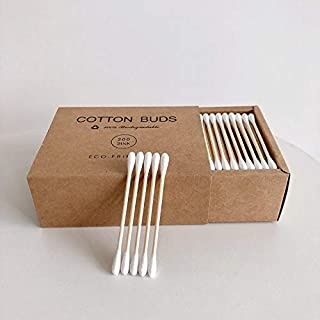 QZ 200pc Double Head Cotton Swab, Bamboo Cotton Swab Wood Sticks Disposable Buds Cotton, For Beauty Makeup Nose Ears Clean...