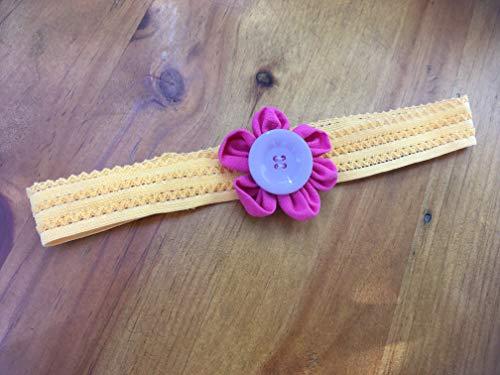 Haarband Stirnband Haarblüte Blumen Blümchen Kanzashi handmade Blumen fürs Haar Kind rot gelb