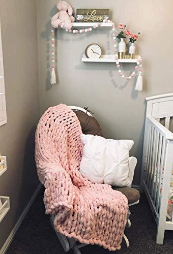 EASTSURE Luxuriöse Strickdecke für Couch, Bett, Stuhl, superweich, warm, gemütlich, Chenille, 101,6 x 152,4 cm, Rosa