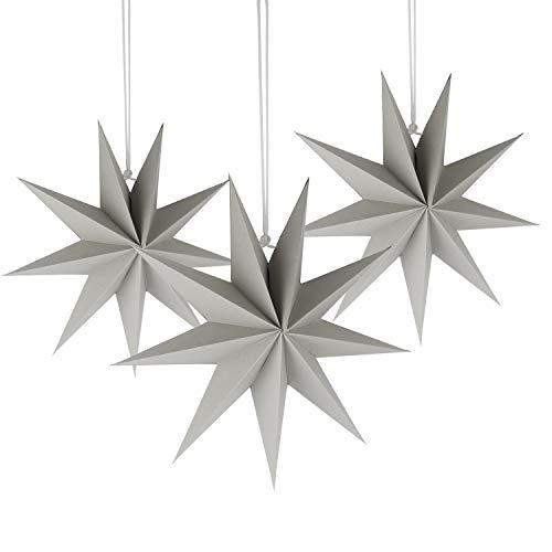 Farol De Papel Con 9 Puntas De Estrella, 3pcs Estrella De Papel Decorativo,Papel 3D Diseño De Estrella,Papel Estrellas Decoración De Navidad,Origami De Bricolaje 9 De Estrella Puntiagudas (Gray)