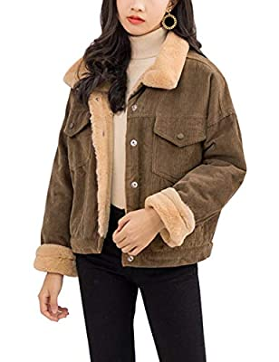 Gihuo Women's Vintage Corduroy Sherpa Fleece Lined Jacket Thickened Warm Quilted Jacket (Dark Khaki, Medium)