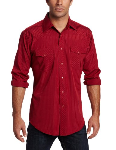 Wrangler Men's Tall Sport Western Snap Shirt Dobby Stripe, Wine, X-Large Tall