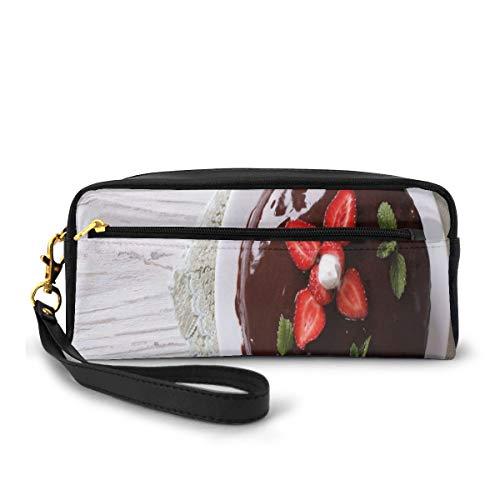 Potlood Case Pen Bag Pouch Stationary, Van Boven Foto Van Chocolade Cake Met Verse Aardbeien En Munten Op Tafel, Kleine Make-up Bag Coin Purse