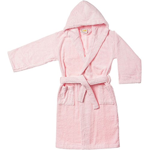 Superior Collection, 100% Premium Long-Staple Combed Cotton, Hooded Terry Bath Robe for Kids, Small/Medium, Pink