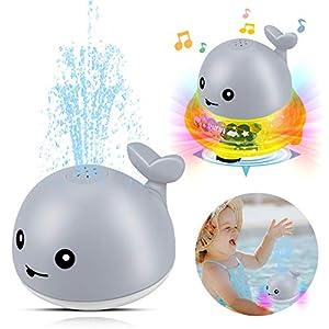 aovowog Juguetes de Baño para Bebés,Juguete de Agua,Juguetes de Bola de Rociador con Luz Intermitente Juguete de Fuente Musical para Niños y Niñas