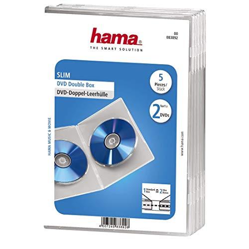 """Hama Boîtier """"Slim"""" double pour DVD, lot de 5, Transparent"""