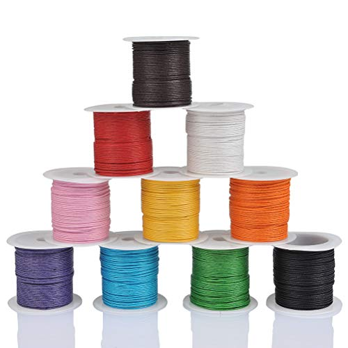 WOWOSS 10 Rollos Hilo Cuerda - Encerado Joyería Cordón Cable 10m DIY Cordón de Algodón para Collar Pulsera Abalorios Cuerda para Manualidades(10 Colores)