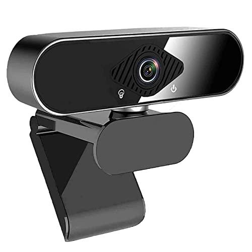 1080P Webcam con Microfono, Videocamera USB per PC, Webcam Laptop con Microfono per Incontro Zoom YouTube Skype FaceTime Hangouts, Grandangolo, Correzione Automatica della Luce, Windows Mac OS