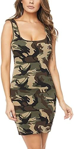 Usstore Dresses for Women Camouflage Printing Summer Sleeveless Camisole Dresses Army Green product image