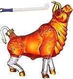 Unknow Licor Animal Whisky Decantador Forma de Toro Vino Soda Vodka o Vino Espesada sin Plomo, Elegante Jarra de Cristal, Accesorios de Vino, Regalos de Vino (Color: A)