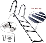 Amarine Made 4 Steps Premium Stainless Folding Rear Entry Pontoon Boat Ladder w/Extra Wide Step