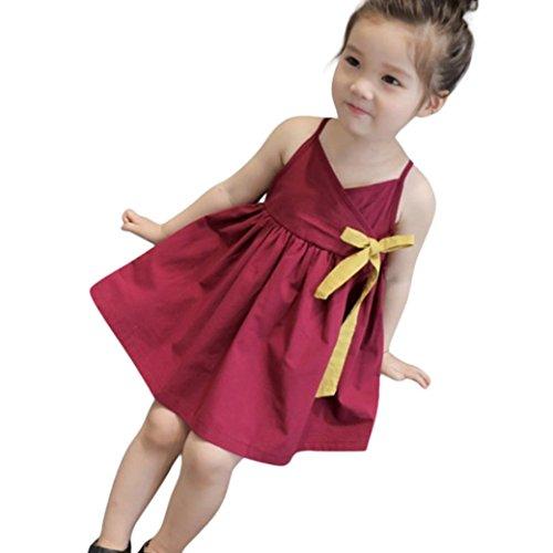 K-youth Vestido Bebé Niña Verano Vestido Sin Mangas Tutú Princesa Casual Vestidos Niñas Mariposa Alas Volantes Vestido Trajes Ropa de Vestir Vestido de Princesa Bautismo Fiesta (Vino, 4-5 años)
