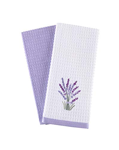 Hiera Home Kitchen Towels - Ultra Soft Cotton and Super Absorbent Dish Towels for Kitchen, Large Kitchen Towel 24x16 Inches, Natural Cotton Dish Towels Lavender Pack of 2