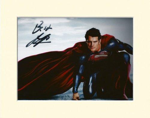 Foto, Marvel Superman Man Of Steel, mit Henry Cavill Autogramm, in Passepartout