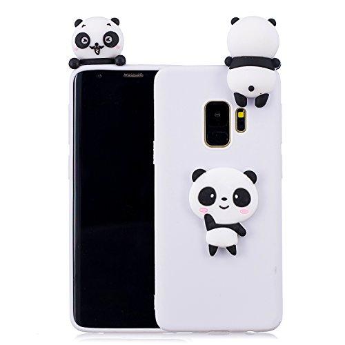 Handyhülle Für Samsung Galaxy S9 Plus 3D Panda Tiere-Silikon Hülle Schutzhülle - Süße Karikatur Tier Muster Ultra Dünn Slim Weiche Flexible Gummi Bumper Case für Kinder Jungs Mädchen,Weiße Teddybär
