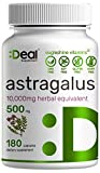 Astragalus Capsules - Astragalus Root 500mg Per Serving, 180 Counts -10,000mg Herbal Equivalent - Long Term Immune Support   Promotes Cardiovascular Health
