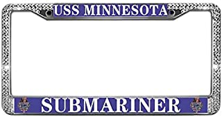 Crystal License Plate Frame for US Vehicles Shiny Crystal Rhinestone Beautifully Chrome Car Licenses Plate Frame USS Minnesota Submariner License Plate Tag Frame