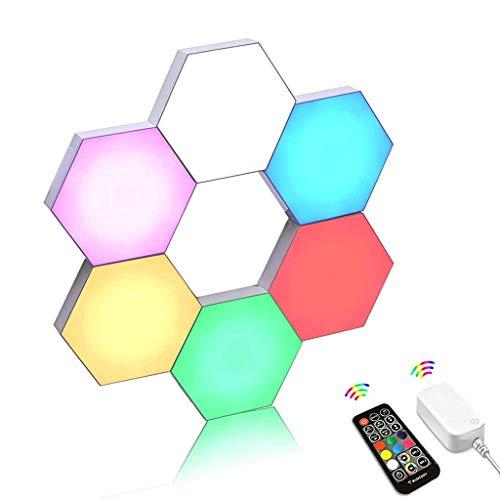 Smart LED Hexagon Vägglampa, RGB Wall Gaming Lights med RF-fjärrkontroll, Synkronisera med Musik, Inbyggd Mikrofon, DIY Modulära Geometriska Ljuspaneler, USB-ström (Color : 6pcs)