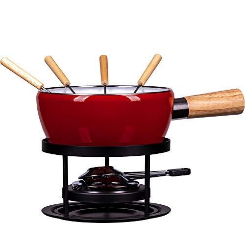 Style'n Cook Fondue Set Luca 8 TLG, Edelstahl, rot/schwarz, 18 cm