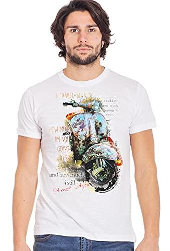 street style Camiseta vintage para moto Vespa 10006 Urban Men 100% flameado blanco XXL