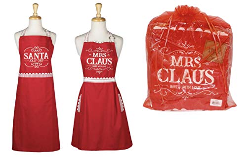 Design Imports DII Holiday Apron Set of Two in a Red Organza Bag - Mrs. Claus Baked with Love - Santa Jolly Chef