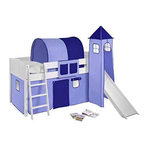 Lilokids Spielbett IDA 4106 Blau-Teilbares Systemhochbett weiß-mit Vorhang Kinderbett, Holz, 208 x 98 x 113 cm