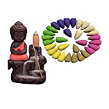 NYRWANA Clay Buddha Smoke Fountain with 30 Backflow Incense Cones (Red)