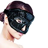 Ice Face/Eye Mask for Woman Man, Hot/Cold Reusable Gel Beads ice Mask with Soft Plush Backing,Hot Cold Therapy for Facial Pain,Sleeping,Swelling,Migraines, Headaches,Stress Relief[Black]