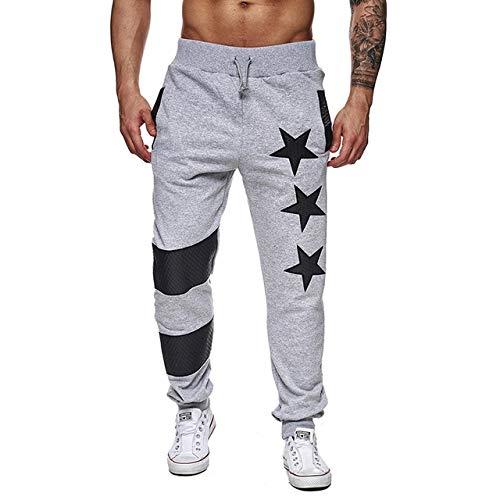 Loeay Pantalons de Sport pour Hommes Pantalons de Jogging Pentagram Star Print Casual Striped Patchwork Joggers Pantalon de Sport Streetwear Gris Clair XXL
