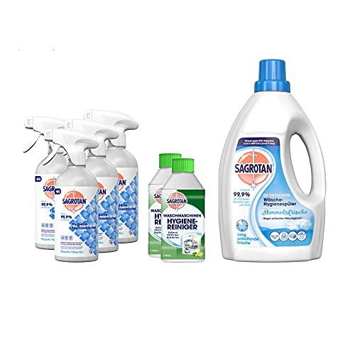 Sagrotan Frische Wäsche Hygiene-Desinfektionsset - 1,5l Wäsche-Hygienespüler Himmelsfrische, 2 x 250ml Waschmaschinen Hygiene-Reiniger, 4 x 500ml Hygiene-Textilerfrischer