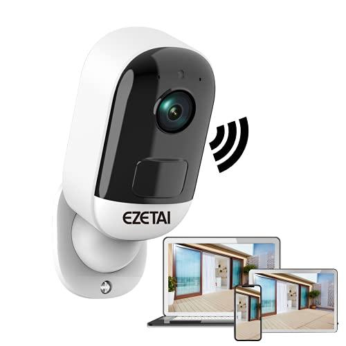 EZETAI Akku Überwachungskamera Aussen,3MP Kabellose Outdoor WLAN IP Kamera,PIR-Bewegungserkennung,2-Wege-Audio,IR Nachtsicht,Push Alarme,Wasserdichtes & SD-Kartenslot5m Nachtsicht,für Inne & Auße