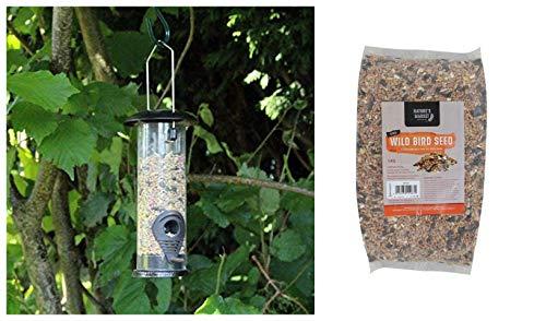garden mile Bird Feed Hanging Seed Bird Feeder with 1kg Bag of Bird Feed Seed Hanging Bird Nut Seeds Bird Feeder Outdoor Garden Patio Wild Birds Wildlife Food