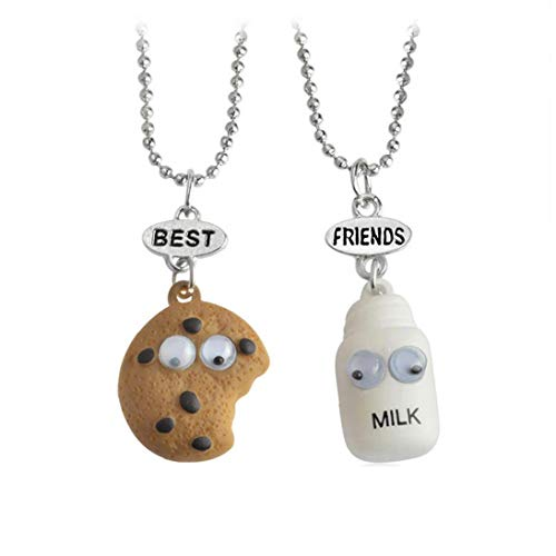 2pcs / Set Mini Essminiaturen Schmuck Cookie & Milk Best Buds Hängende Korn-Ketten-Halskette Best Friend